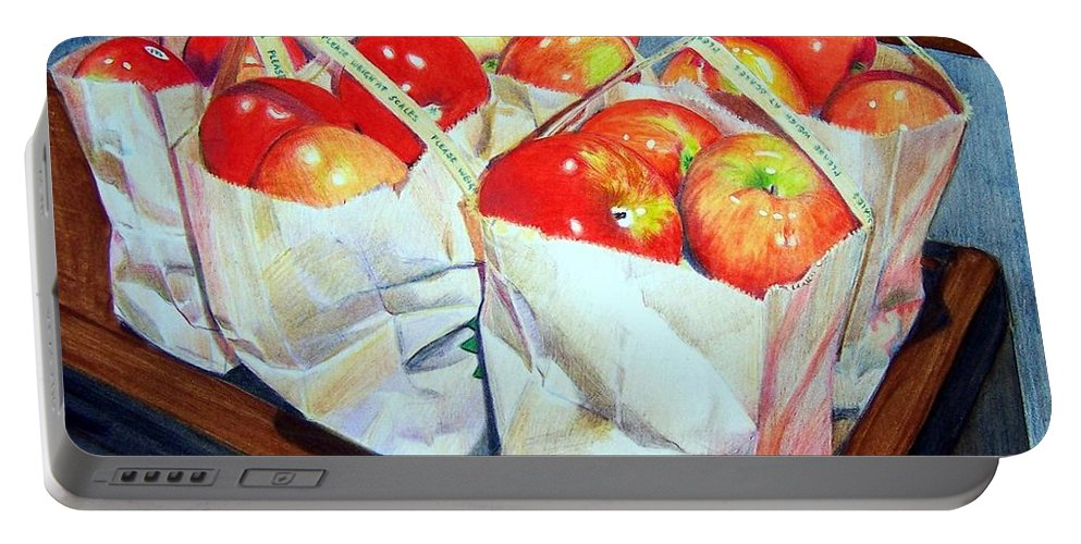 Apples Portable Battery Charger featuring the mixed media Bags Of Apples by Constance Drescher