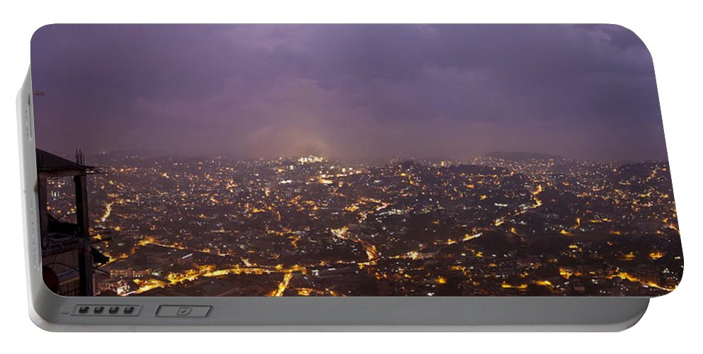 Panoramic Portable Battery Charger featuring the photograph Baguio At Night by George Cabig
