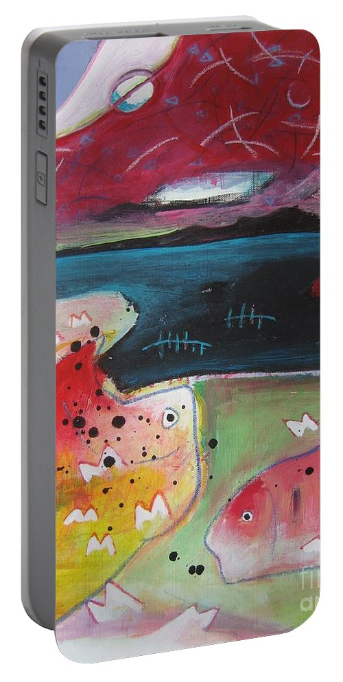 Acrylic Paintings Portable Battery Charger featuring the painting Baieverte by Seon-Jeong Kim