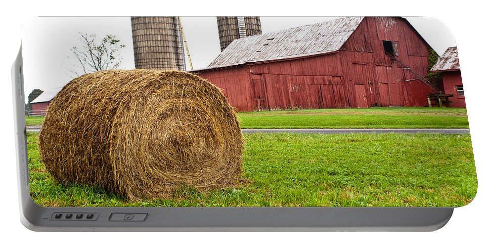 Farm Building Portable Battery Charger featuring the photograph Bail And Barn by Douglas Barnett