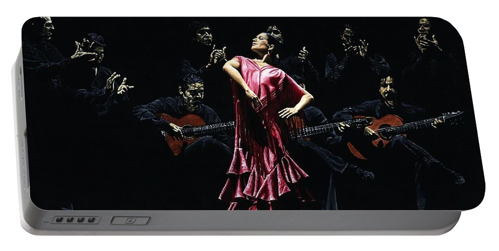 Flamenco Portable Battery Charger featuring the painting Bailarina Orgullosa Del Flamenco by Richard Young