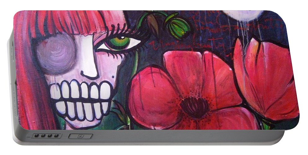 Skulls Portable Battery Charger featuring the painting Baylee by Laurie Maves ART