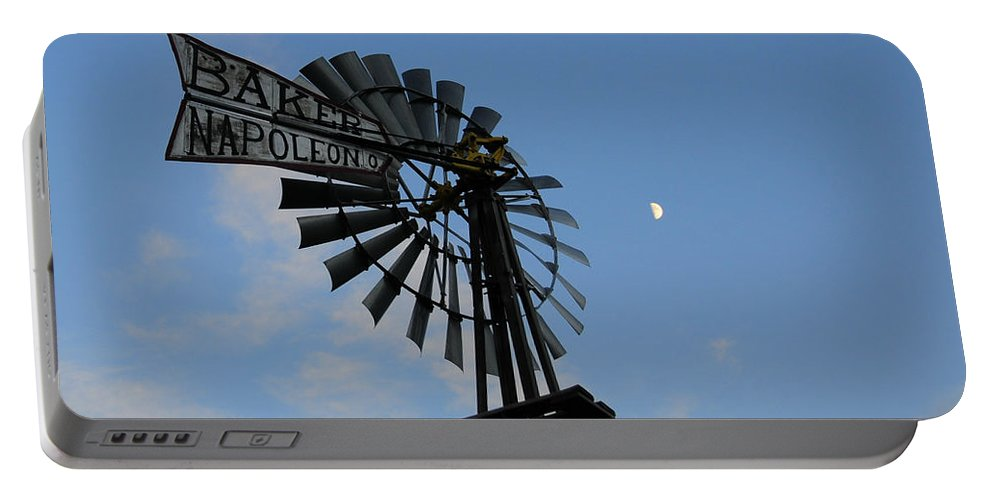 Windmill Portable Battery Charger featuring the photograph Baker Napoleon And The Moon by David Arment
