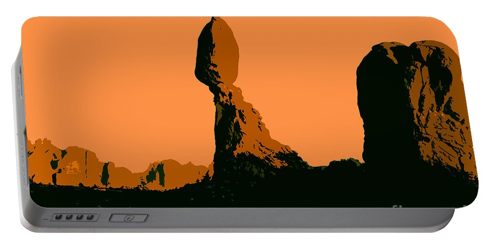 Balance Rock Portable Battery Charger featuring the painting Balance Rock by David Lee Thompson