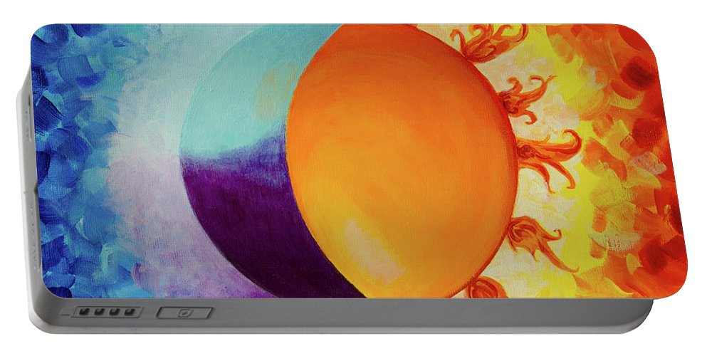 Art Portable Battery Charger featuring the painting Balancing Sun And Moon Energies by Deb Breton