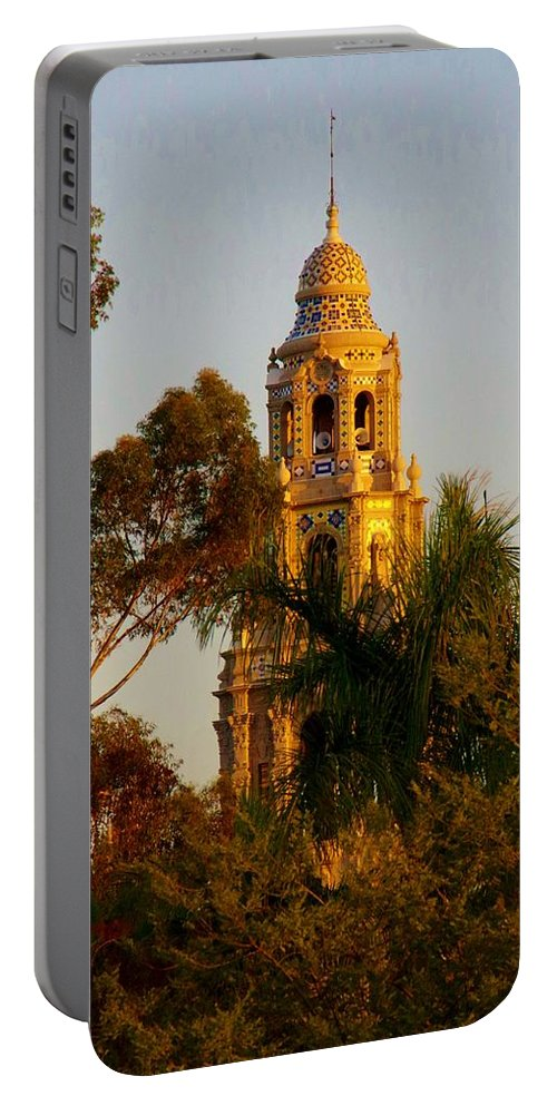 Balboa Park Portable Battery Charger featuring the photograph Balboa Park Bell Tower Orig. by Phyllis Spoor