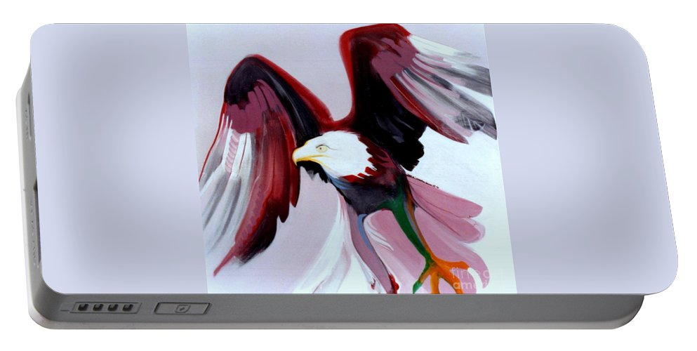 Birds Portable Battery Charger featuring the painting Bald-e by Marlene Burns