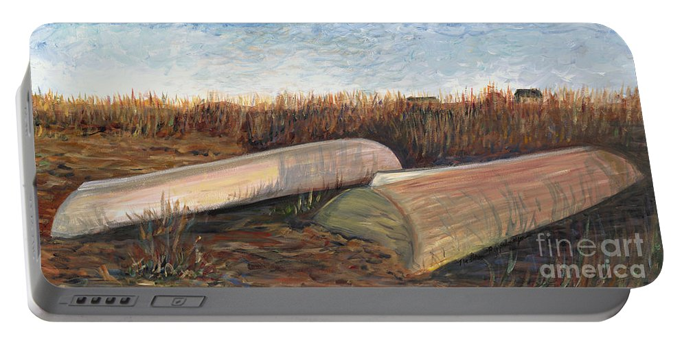 Boat Portable Battery Charger featuring the painting Bald Head Boats by Nadine Rippelmeyer