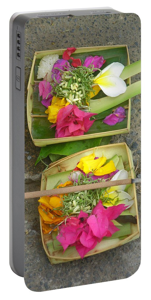 Bali Balinese Religion Budhism Ritual Offering Culture Asia Asian Tradition Portable Battery Charger featuring the photograph Balinese Offering Baskets by Mark Sellers