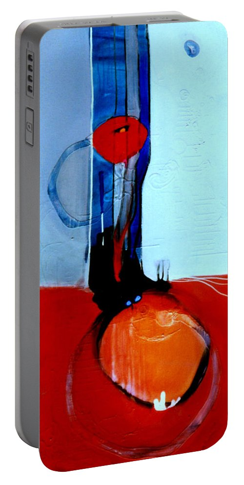 Abstract Portable Battery Charger featuring the painting Ball And Chain Outcome by Marlene Burns