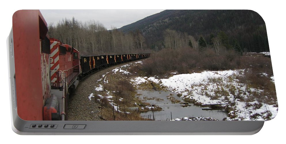 Photograph Train Mountain Snow Winter Tree Nature Portable Battery Charger featuring the photograph Ballast Train by Seon-Jeong Kim