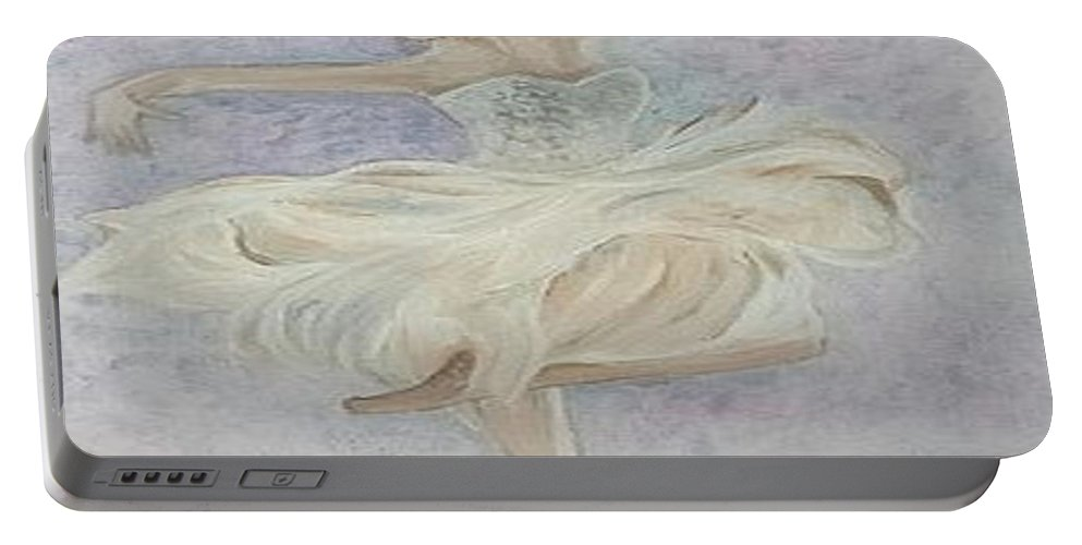 Dancer Portable Battery Charger featuring the painting Ballerina Dancer by Cb Fineartstudios