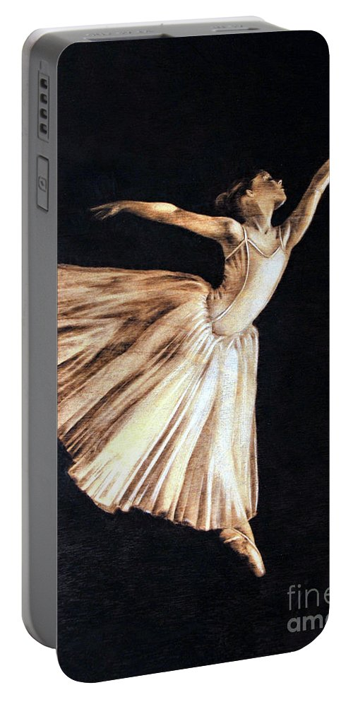 Ballerina Portable Battery Charger featuring the pyrography Ballerina by Ilaria Andreucci