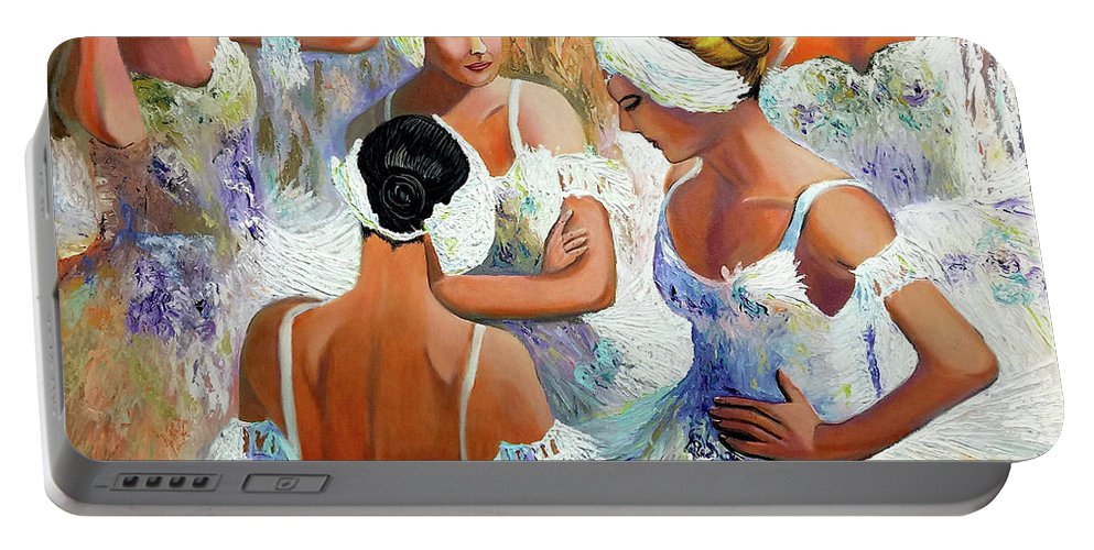 Ballet Portable Battery Charger featuring the painting Ballernia 4 by Jose Manuel Abraham