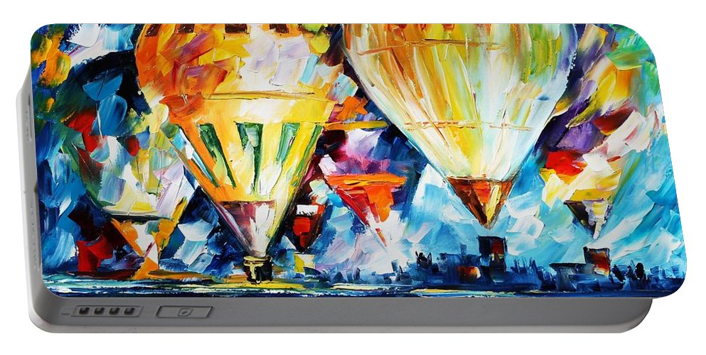 Afremov Portable Battery Charger featuring the painting Balloon Festival New by Leonid Afremov