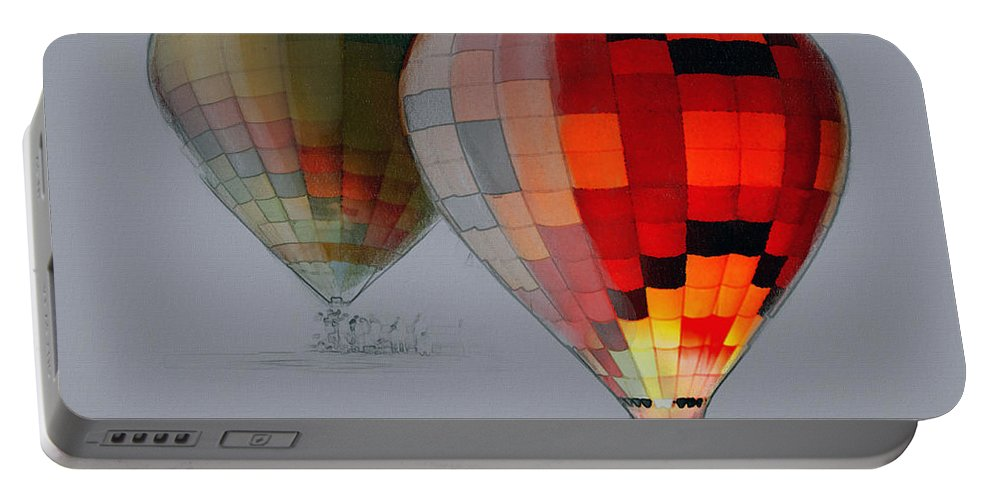 Balloon Portable Battery Charger featuring the photograph Balloon Glow by Sharon Foster