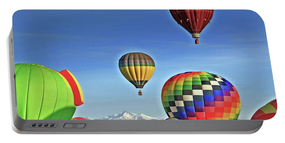 Colorado Portable Battery Charger featuring the photograph Ballooning Above Longs Peak by Scott Mahon