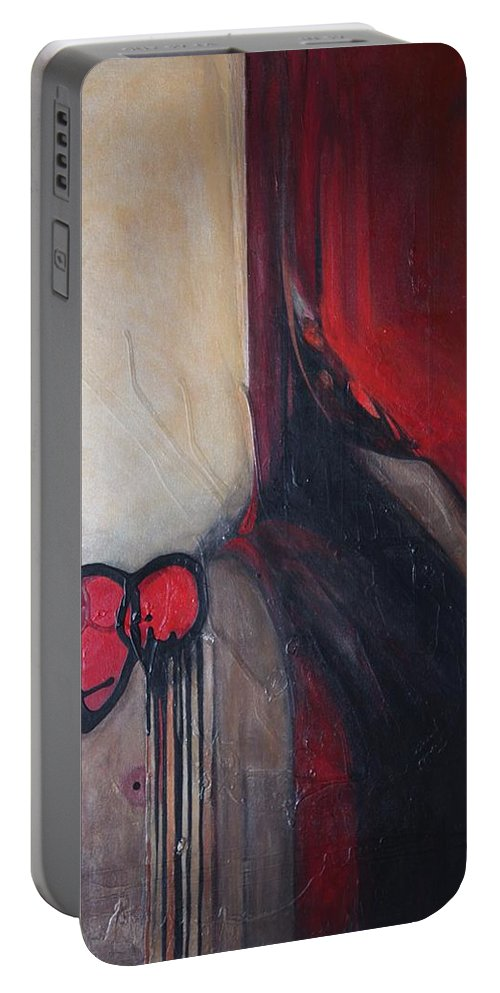 Abstract Portable Battery Charger featuring the painting Ballz by Marlene Burns