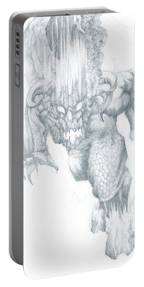 Balrog Portable Battery Charger featuring the drawing Balrog Sketch by Curtiss Shaffer