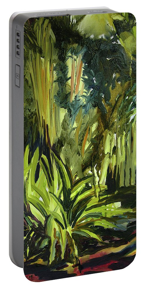 Canvas Prints Portable Battery Charger featuring the painting Bamboo Garden I by Julianne Felton