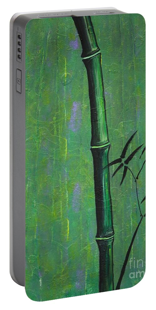 Bamboo Portable Battery Charger featuring the painting Bamboo by Jacqueline Athmann