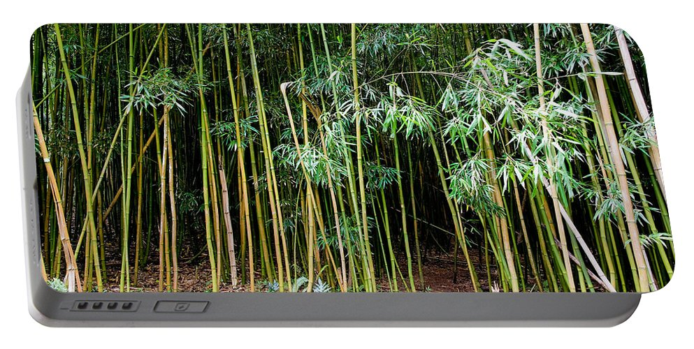 Bamboo Wind Chimes Portable Battery Charger featuring the photograph Bamboo Wind Chimes Waimoku Falls Trail Hana Maui Hawaii by Michael Bessler