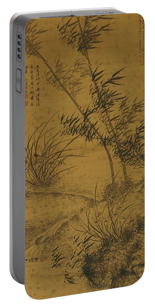 Jia Li (17th Century) Bamboos And Orchids In The Wind Portable Battery Charger featuring the painting Bamboos And Orchids In The Wind by MotionAge Designs