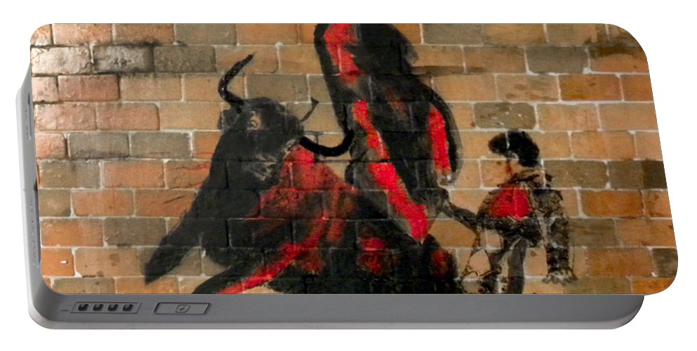 Brick Portable Battery Charger featuring the mixed media Ban Bullfighting by Herman Cerrato