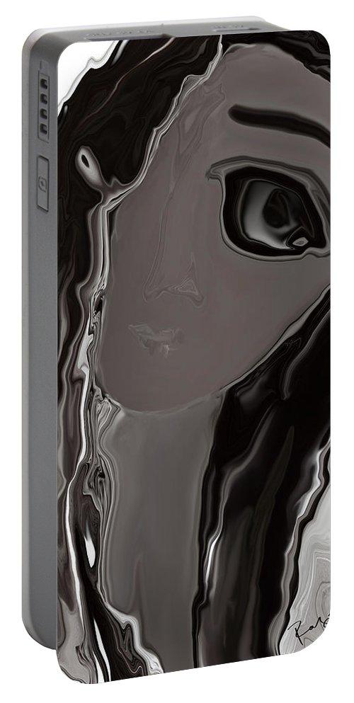 Abstract Portable Battery Charger featuring the digital art Banalata Sen by Rabi Khan