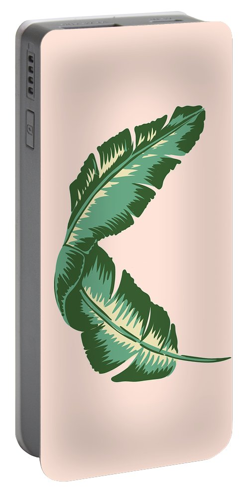 Leaf Portable Battery Charger featuring the digital art Banana Leaf Square Print by Lauren Amelia Hughes