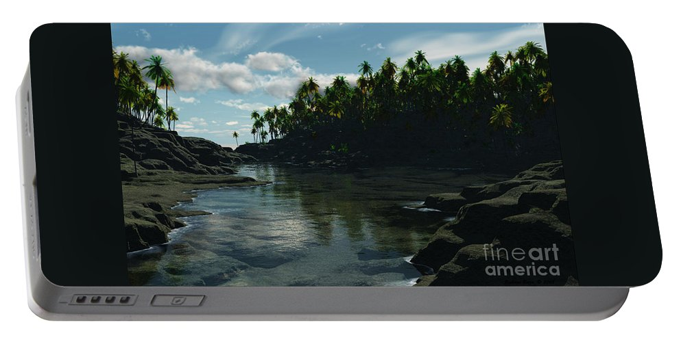 Rivers Portable Battery Charger featuring the digital art Banana River by Richard Rizzo