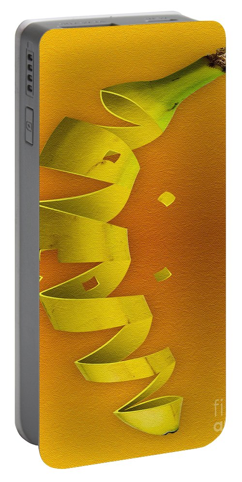 Kitchen Art Portable Battery Charger featuring the digital art Banana by Tim Hightower