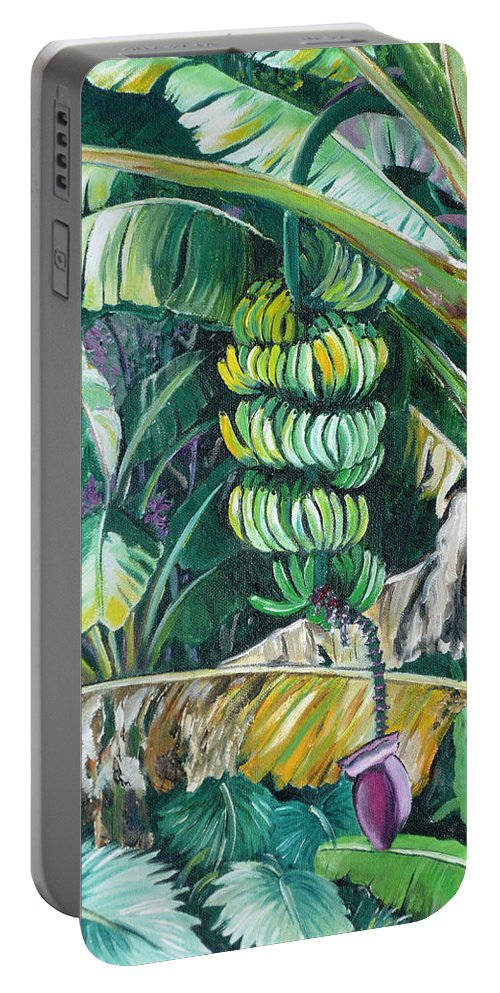 Caribbean Painting Bananas Trees P Painting Fruit Painting Tropical Painting Portable Battery Charger featuring the painting Bananas by Karin Dawn Kelshall- Best