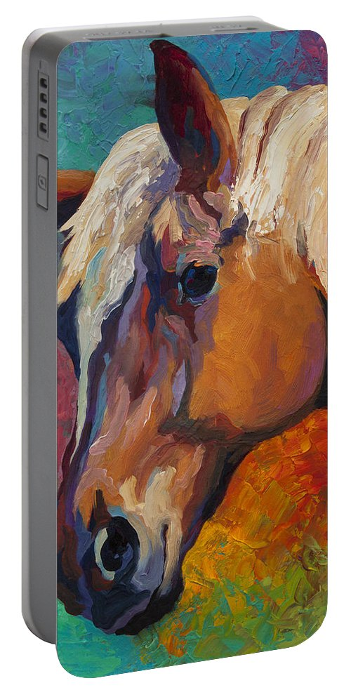 Horses Portable Battery Charger featuring the painting Bandit by Marion Rose