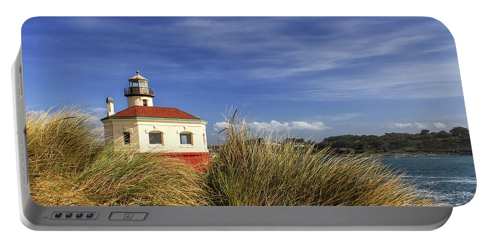Lighthouse Portable Battery Charger featuring the photograph Bandon Coquille River Lighthouse by James Eddy