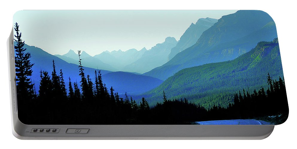 Blue Portable Battery Charger featuring the photograph Banff Jasper Blue by Blair Wainman