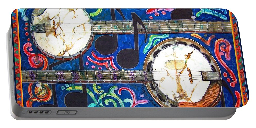 Banjo Portable Battery Charger featuring the painting Banjos - Bordered by Sue Duda