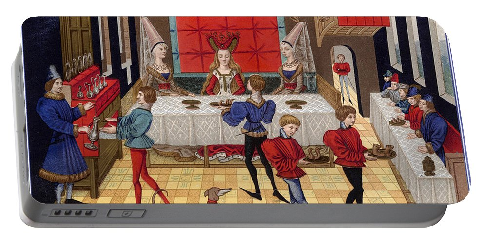 15th Century Portable Battery Charger featuring the photograph Banquet, 15th Century by Granger
