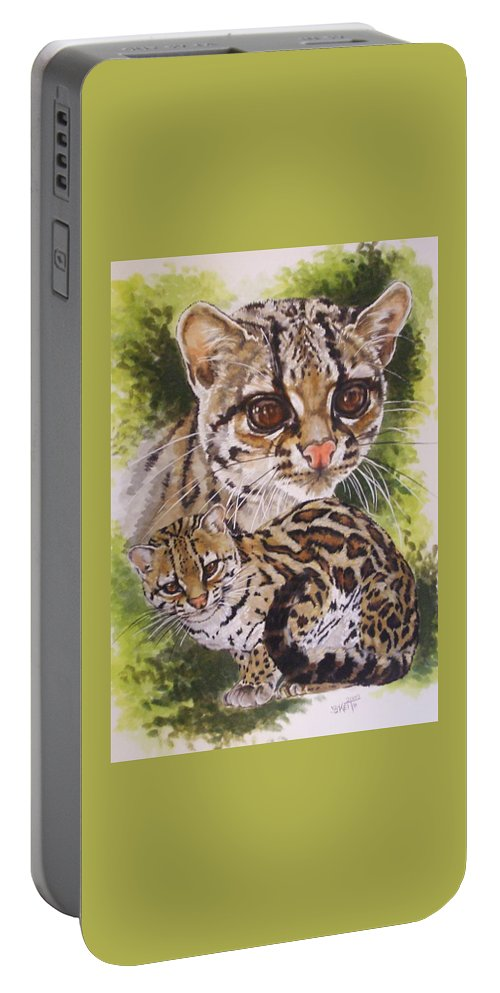 Margay Portable Battery Charger featuring the mixed media Bantam by Barbara Keith