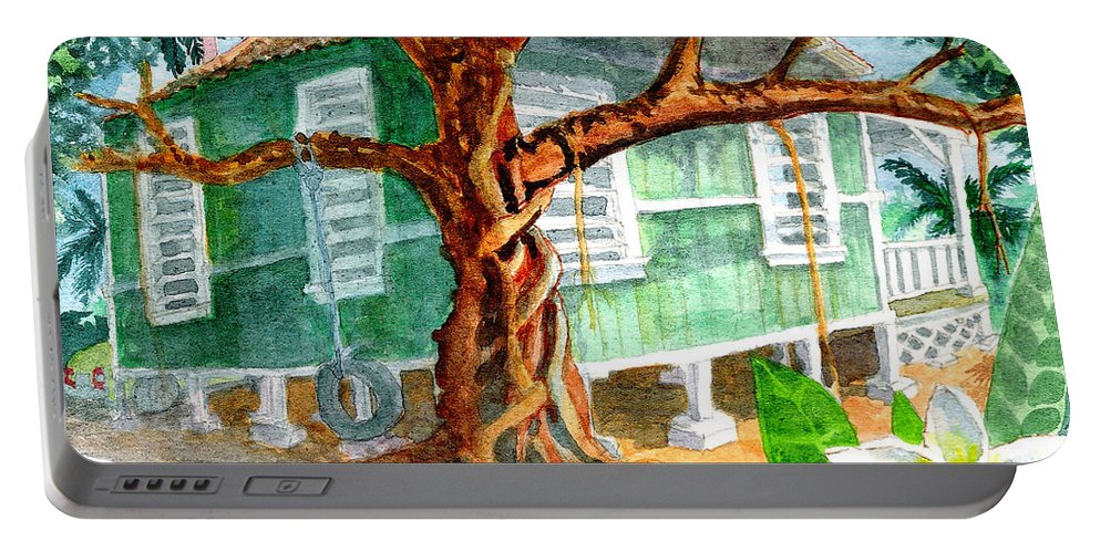 Banyan Tree Portable Battery Charger featuring the painting Banyan In The Backyard by Eric Samuelson