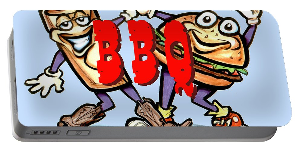 Bbq Portable Battery Charger featuring the greeting card Bar-b-q by Kevin Middleton