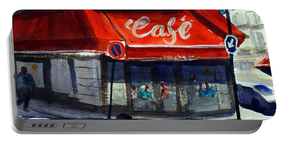 Cafe Portable Battery Charger featuring the painting Bar Les 3 Quartiers by James Nyika