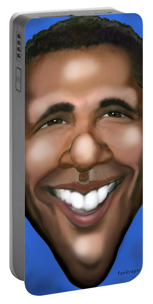 Barack Obama Portable Battery Charger featuring the painting Barack Obama by Kevin Middleton