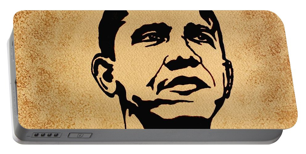 Barack Obama Coffee Painting Pop Art Portable Battery Charger featuring the painting Barack Obama Original Coffee Painting by Georgeta Blanaru