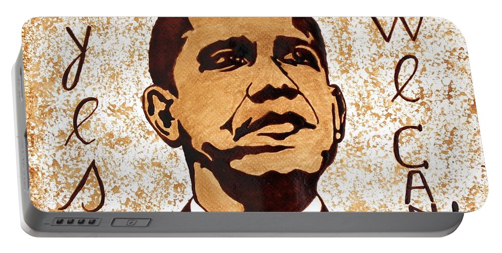 Barack Obama Original Coffee Art Portable Battery Charger featuring the painting Barack Obama Words Of Wisdom Coffee Painting by Georgeta Blanaru