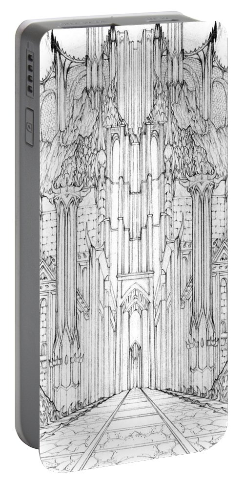 Barad-dur Portable Battery Charger featuring the drawing Barad-dur Gate Study by Curtiss Shaffer