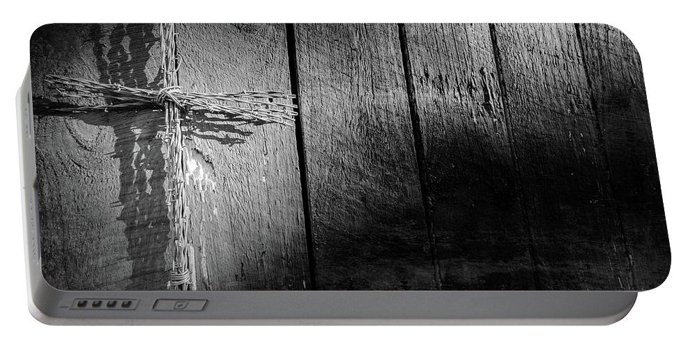 Architecture Portable Battery Charger featuring the photograph Barbed Wire Cross by Jim Love