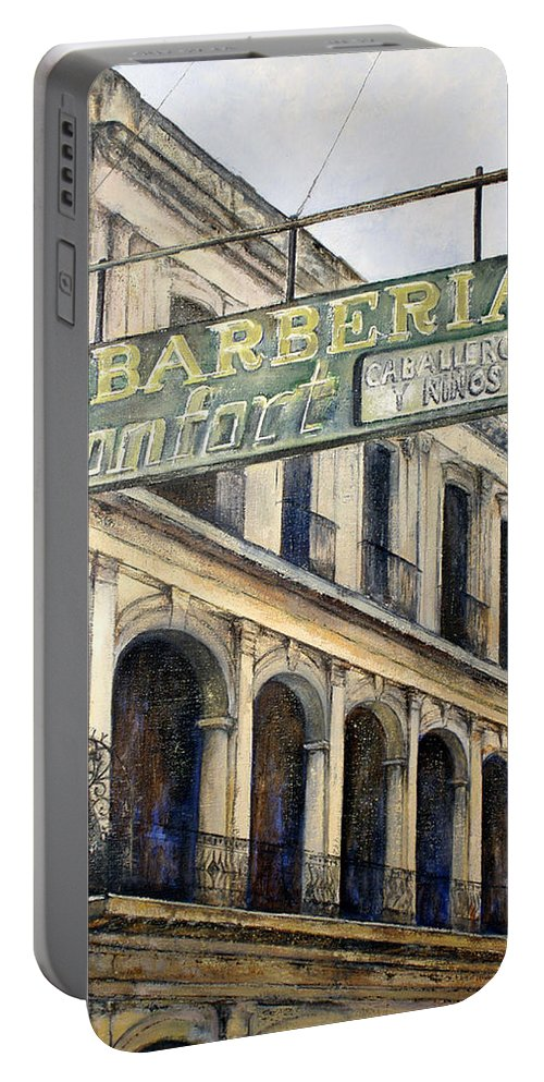 Konfort Barberia Old Havana Cuba Oil Painting Art Urban Cityscape Portable Battery Charger featuring the painting Barberia Konfort by Tomas Castano