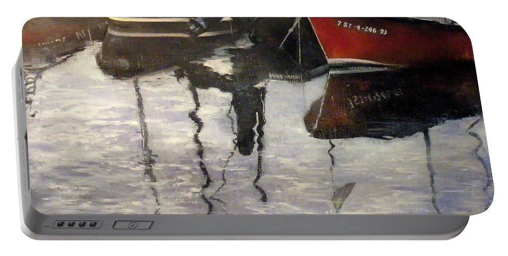 Arte Portable Battery Charger featuring the painting Barcas en puertochico-Santander by Tomas Castano
