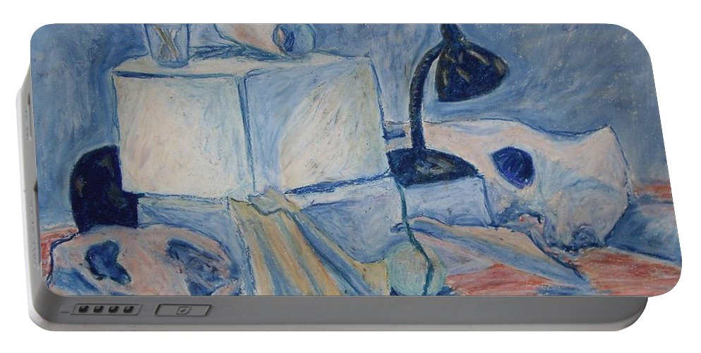 Still Life Portable Battery Charger featuring the pastel Bare Bones by Jean Haynes